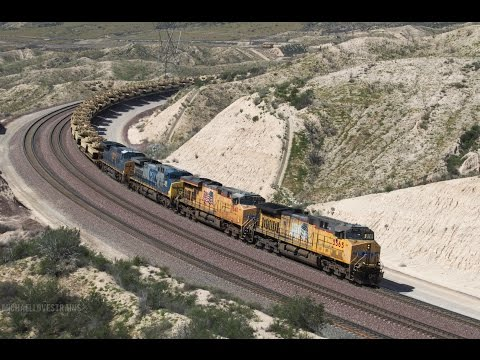 4K - Heavy BNSF and Union Pacific Freight Trains at the Cajon Pass Summit - Military Train Included!