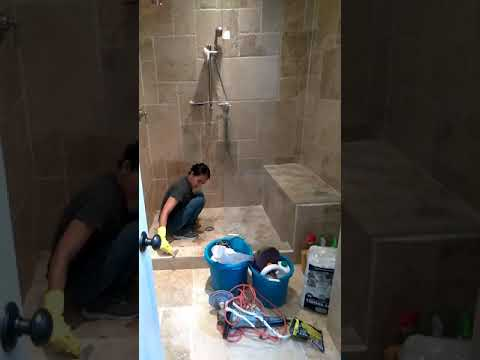 Travertine Shower Cleaning and Sealing