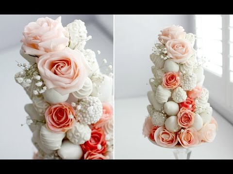 DIY DIPPED STRAWBERRY & ROSE TOWER - GORGEOUS!