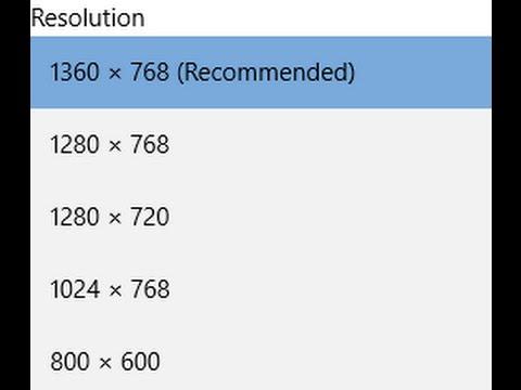 Adjust screen resolution for Windows 10