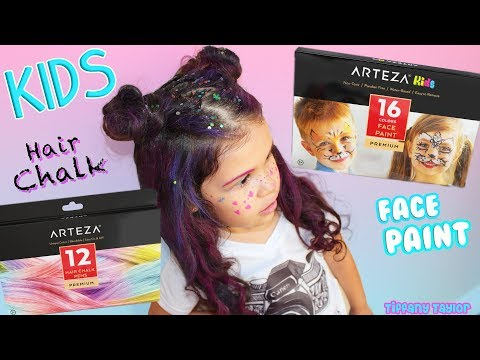 Arteza Kids Safe Face Paint/Hair Chalk Tutorial How to Use & Review