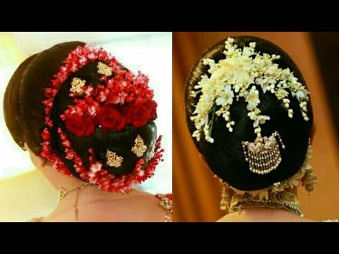 Beautiful Bun With Real Gajra   Hair Style With Flowers   Wedding Hair Style