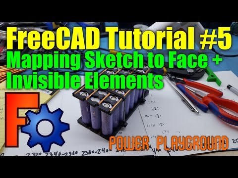 FreeCAD 3D Modeling Tutorial 5: Mapping a sketch to a face / Invisible Elements