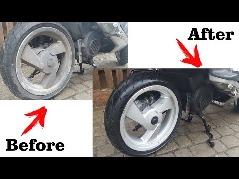 How to instantly clean motorcycle scooter wheels -7 years of dirt