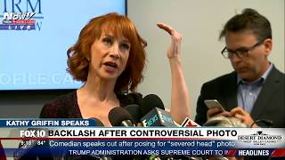 full kathy griffin press conference on severed trump head photo must watch