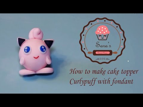 How to make Poke Curlypuff as cake topper with fondant