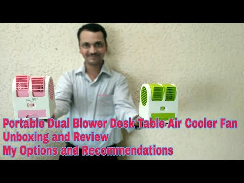 Portable Dual Blower Desk Table Air Cooler Fan Unboxing and Review | My Options and Recommendation