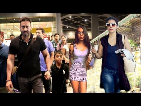 Ajay Devgan & Kajol With Family Son Yug & Daughter Nysa Seen At Mumbai Airport