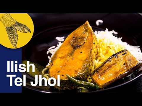 Ilish Macher Tel Jhol Begun Diye   Ilish Mach Recipe   Bengali Light Hilsa Curry with Aubergine