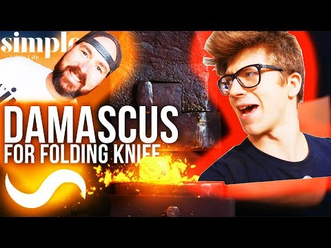 FORGING DAMASCUS FOR A FOLDING KNIFE! With Simple Little Life!!!!