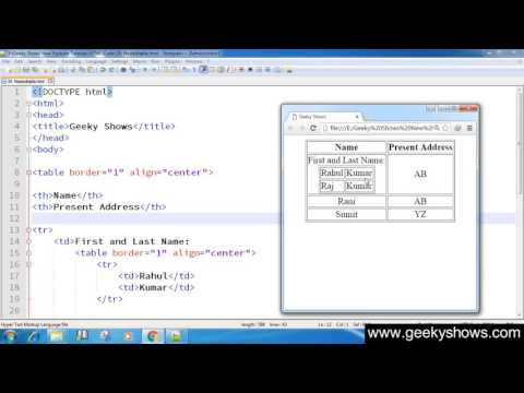 52. Nested Table in HTML (Hindi)