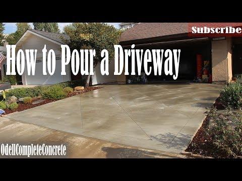 How to Pour a Concrete Driveway With Diamond Saw Cut Pattern - DIY
