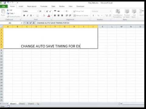 Excel Learning : How To Change Auto Save Time for Excel