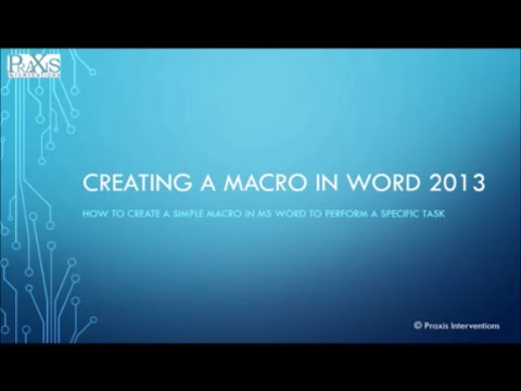 Creating a MACRO in Word 2013