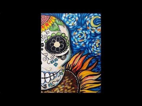 Sugar Skull Easy beginner Acrylic Painting Dias de los Muertos tutorial