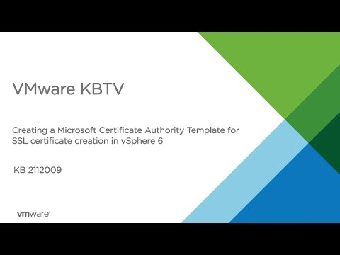 How to create a Microsoft Certificate Authority Template for SSL certificate creation in vSphere 6