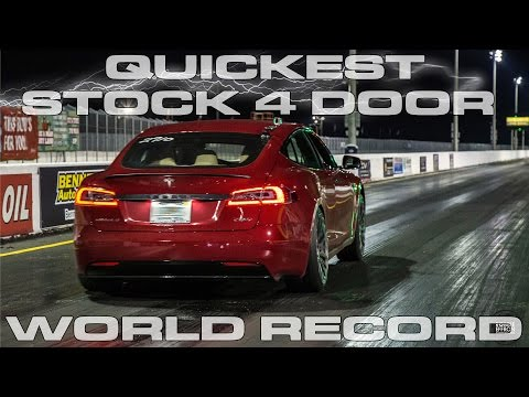 P100D Tesla Model S Record for the quickest stock 4 door car running 10.76 in the 1/4 Mile