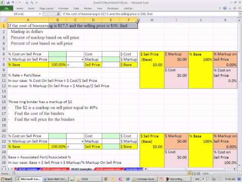 Excel 2010 Business Math 69: Markup On Sell Price
