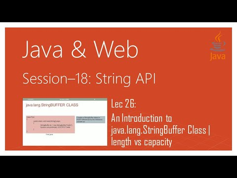 String API in Java | #26 | An Introduction to java.lang.StringBuffer Class Java | length vs capacity