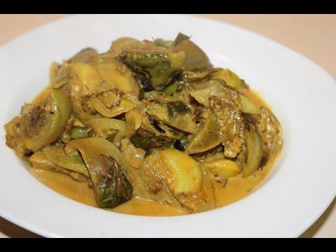 Thai Eggplants Curry with Garlic. (Thalana Batu Curry)