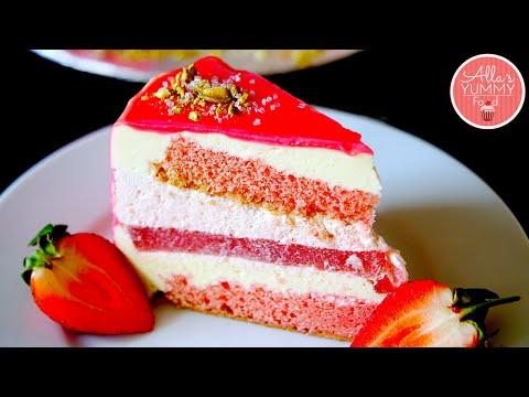 Strawberry Mousse Cake Recipe | Mirror Glaze | Клубничный торт-мусс