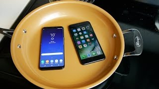 Samsung Galaxy S8+ vs iPhone 7 Plus Boiling Hot Water Test