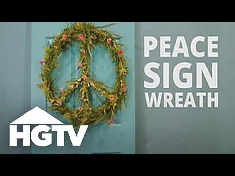 DIY Floral Peace Sign Wreath - HGTV