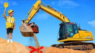 Excavator finds a Surprise Chest to Learn Names of Toy Vehicles for Kids