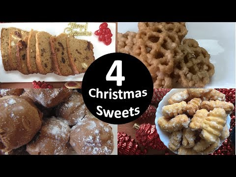 4 Christmas Sweets | KulKuls | Rich Cake | Marzipan | Rose Cookies