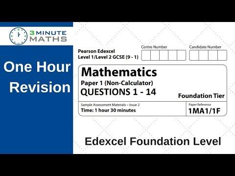 Edexcel Foundation paper 1 non calculator - questions 1 - 14
