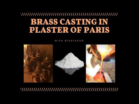 CASTING BRASS IN PLASTER OF PARIS WITH MOLTEN BRASS - MELTING BRASS