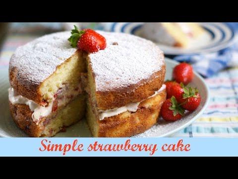 Simple strawberry cake   UK family vlogger