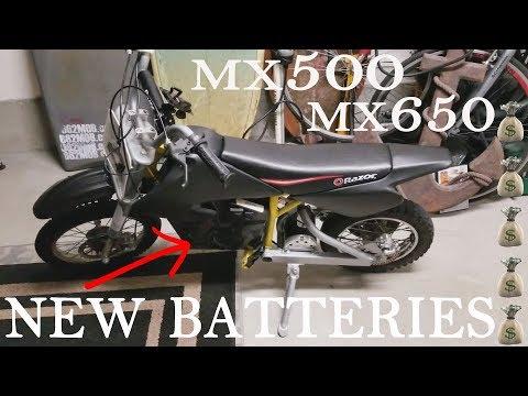 How To Install NEW Batteries On Razor MX500 MX650 Dirt Bike Upgraded Batteries Longer Run Time