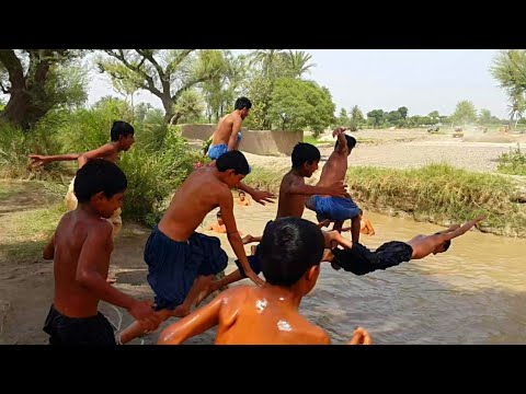 Natural Punjab Village Life In Pakistan | High Jumping In Canal