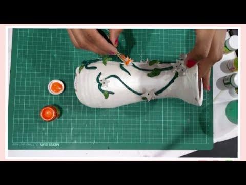 DIY Pot Painting | Emboss Painting using M-Seal | Enjoy Crafting # 60