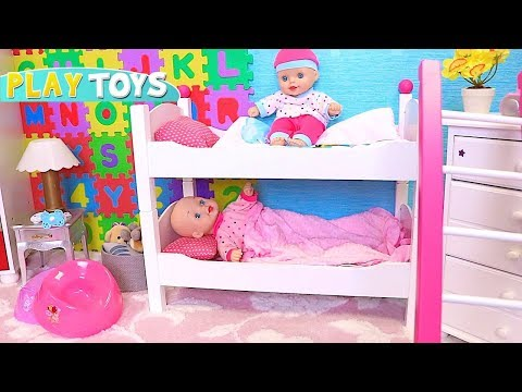 Play Baby Born Dolls Hide and Seek in Wardrobe in Nursery Room with Bunk Bed! 🎀