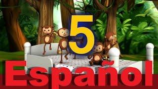 Cinco monitos saltaban en la cama | Canciones infantiles | LittleBabyBum