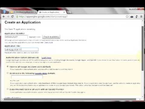 Create Application on Google App Engine
