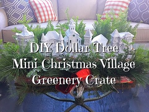 DIY Dollar Tree Mini Christmas Village Greenery Crate How-To