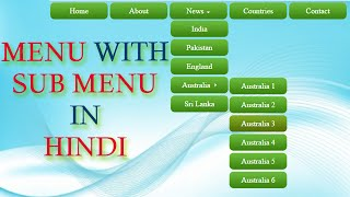How to create Dropdown Menu with Submenus in Html and CSS (Hindi)