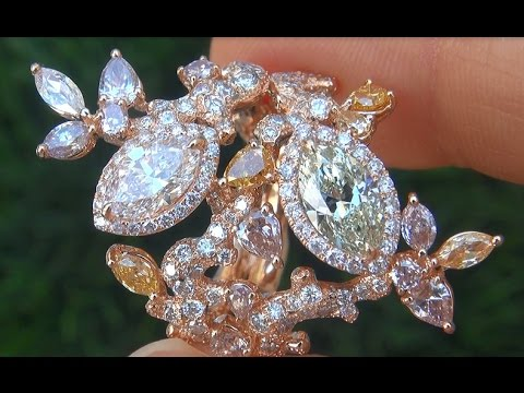 GIA Certified VS1 Natural Fancy Pink Green Yellow Diamond Engagement 18k Rose Gold Ring - C432