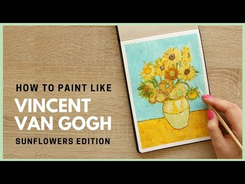 How to Paint Sunflowers by Vincent van Gogh with Acrylic Paint   Art Journal Thursday Ep. 36