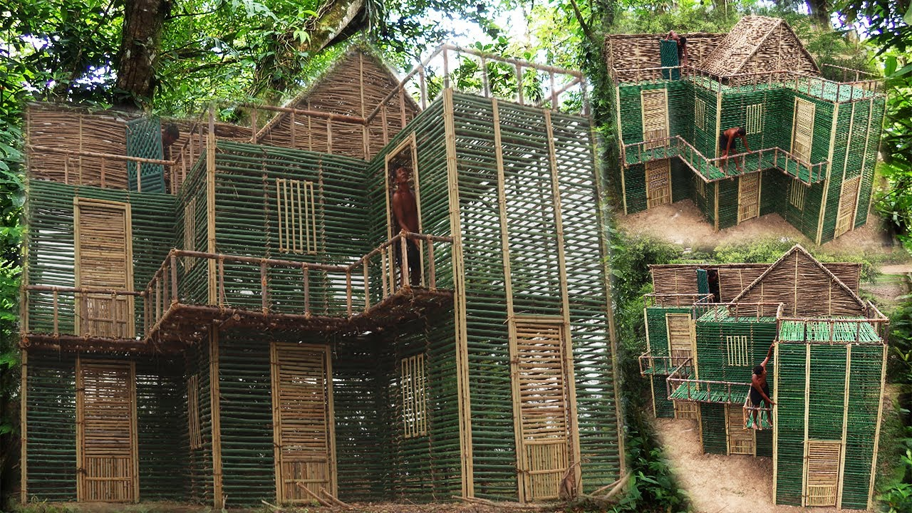 Build The Most Creative Three Floor Villa In The Forest By Using Small Wood And Bamboo 100%