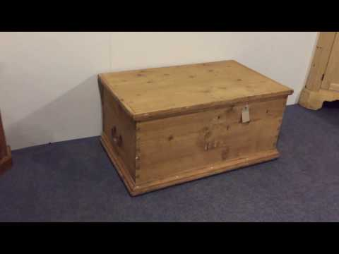 Very Old, 1872, Antique Flat Top Blanket Box - Pinefinders Old Pine Furniture Warehouse