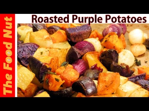 Oven Roasted Purple Potatoes Recipe - How To Bake Potatoes With Pearl Onions & Herbs | The Food Nut