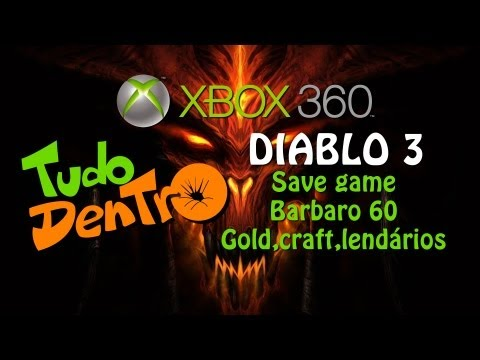 Save Editado Diablo 3 no Xbox 360 Gold, craft e vários equipamentos.