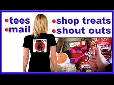 a  box of dutch yum, tee shirts and shout out pics