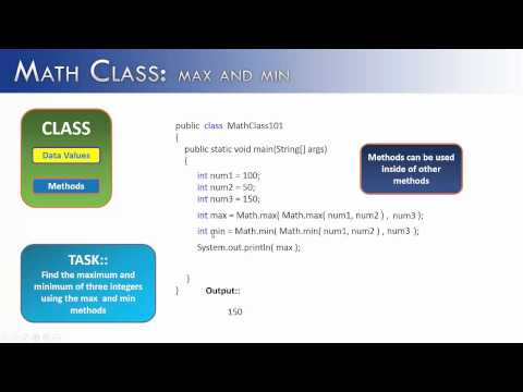 Math Class  Part 1: max and min methods (Java)