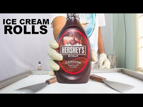 HERSHEYS Chocolate Syrup ICE CREAM ROLLS - SATISFYING ASMR VIDEO