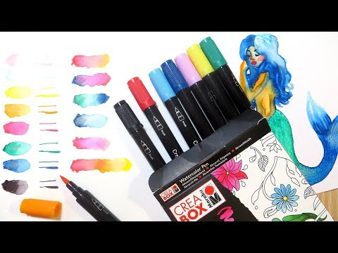 Watercolor Brush Marker Demo and Review || Marabu Creabox Watercolor Pen from Lidl
